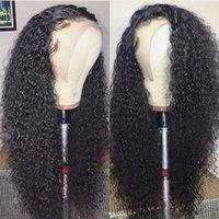 bakire saç kıvırcık kıvırcık ön toptan satış-İşlenmemiş Virgin İnsan Saç Peruk Bebek Saç Ücretsiz Bölüm Ile Kinky Kıvırcık Tam Dantel Peruk Brezilyalı Dantel Frontal Peruk Siyah Kadınlar