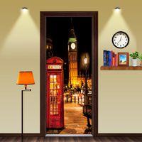 großes auto telefon großhandel-DIY Britischen stil London Red Telefonzelle Sportwagen Big Ben Klassische Tür Aufkleber DIY Wandhauptdekoration Poster PVC Wasserdichte Aufkleber
