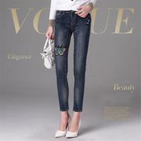 novas mulheres jeans venda por atacado-Moda feminina Designer de Calça Jeans Calças De Brim De Luxo Calças Famosas Modelo G Elegante Borboleta Bordado New Chegou Calças Quentes de Alta Qualidade