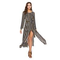 Wholesale tea party clothes resale online - Women Split Dress Women Clothing Party Dresses Long Sleeve Shirt Stripe Mid Waist Round Dress