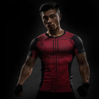 mallas de capitán américa al por mayor-Camisetas de entrenamiento con manga corta para hombre superhéroe Capitán América Impresión 3D Camisetas de manga corta Tight shi Tight