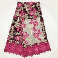 líquido para vestidos de casamento materiais venda por atacado-2019 fushsia rosa Tecido de Renda Francesa Com Contas de Tecido de Renda Africano de Alta Qualidade Net Lace Material Nigeriano Vestido De Noiva