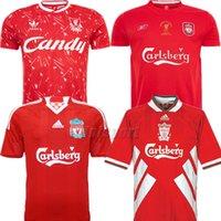 gerrard futbol toptan satış-Liverpool Retro Gerrard Futbol Formaları Rush Futbol Camisetas Klasik Futbol Camisa Bağbozumu Gömlek Barnes Kiti Maillot Maglia Trikot Tops
