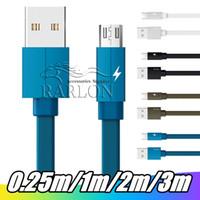 schnelles geflecht großhandel-Schnellladung 2.4A Typ c Micro-USB-Kabel 1M 2M 3M flache TypeThicker geflochtene Nylon-Kabel für Samsung S6 S8 S10 HTC LG Android Phone