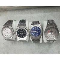 braceletes de mão mens venda por atacado-4 cores mens carvalhos reais relógios algarismos Arábicos caixa de prata pulseira de aço inoxidável automático deslizar suave segunda mão relógio atacado