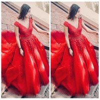 Wholesale ruched empire waist prom dresses resale online - 2019 Beautiful Formal Lace Appliques V Neck Prom Dresses Beading Waist Cap Sleeve Evening Gown Sweep Train Celebrity Dress Evening Wear