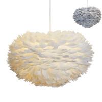 ingrosso arte vivente-Lampade a sospensione E27 Feather Romantic Lampada a sospensione per camera da letto Living Room Lighting HangLamp Goose Feather Suspension Luminaire