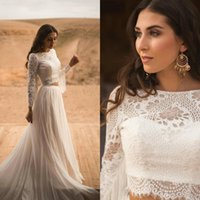 Wholesale two piece wedding dresses resale online - 2020 Bohemian New Arrival Long Sleeve Two Pieces Wedding Dresses Lace Tulle Appliques Jewel Neck Bridal Gowns Button Tassel Wedding Gowns