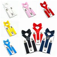 cinturones elásticos para niños al por mayor-Tirantes para niños Conjunto de pajaritas 7 Colores Niños Chicas Tirantes Elásticos Tirantes con corbata de moño Cinturón de moda o Niños Bebé Niños HHA461