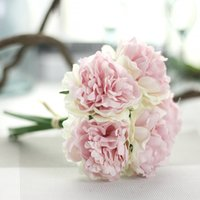 Wholesale artificial hydrangea wedding bouquets resale online - Artificial Peony Bouquet Flower Bridal Hydrangea Home Garden Decor Branch Home Wedding Party Birthday Floral Decor