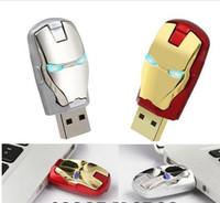 stylo usb achat en gros de-Design Real Capacity Avengers iron man Led éclairage stylo lecteur USB flash drive 32GB ~ 128GB livraison gratuite