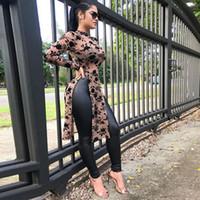 uzun kollu tişörtler kadın modası toptan satış-Perspektif Tasarımcı Bayan tişörtleri Dijital Baskı Uzun Kollu Skinny Moda Bayan Casual Kız Seksi Bayanlar Tees Tops