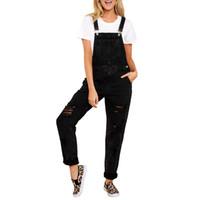 bouton taille haute jean achat en gros de-Jeans Taille Haute Femme Jeans Plus La Taille Des Dames Denim Pour Les Femmes 2019 Trou Poches Skinny Bouton Fly Salopette Casual Feminino