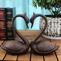 ingrosso libri antichi d'epoca-2 pezzi Cast Iron Swan Reggilibri Metal Book Ends Antique Room Tavolo Scrivania Studio Home Office Decor rustico marrone antico Vintage Artigianato animale