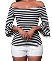 tops ruffle t lange ärmel bluse großhandel-Frühling Herbst Gestreifte Rüschenbluse Frauen Sexy Slash Neck T-Shirt Mode Lässig Langarm Weibliche Tops