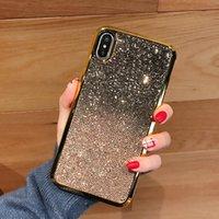 корпус телефона с отпечатком пальца оптовых-Чехол для телефона с блестками и блестками Gradient для Iphone X Xs Max XR 8/7/6 Plus Разноцветный Hybird Anti-Slip Fingerprint Dirt-resitant Защитный чехол