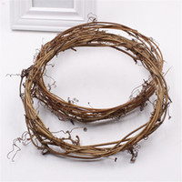 Wholesale wire rattan resale online - 2pcs Realistic Garland Green Leaf Iron Wire Artificial Flower Vine Rattan for DIY Wedding Decoration Foliage Wreath Flower