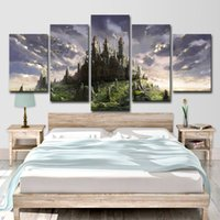 hermosas pinturas al óleo hd al por mayor-Cuadro HD para imprimir Pintura sobre lienzo en la pared para pinturas al óleo para sala de estar Imagen 5 piezas El hermoso castillo