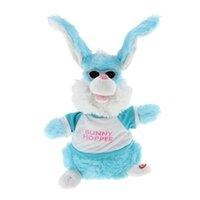 brinquedo de coelho azul venda por atacado-Bebê Criança Early Learning Plush Stuffed Animal Shaking Hands Moving Orelhas Coelho Boneca Soft Toy-Azul