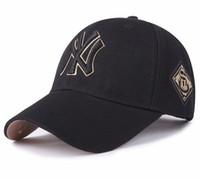casquettes de baseball noir achat en gros de-Ligue majeure de baseball yankees casquette de baseball twill NY noir tout casquettes sport casual casquette incurvée averses pour hommes et femmes sont des tailles ajustables