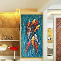 Wholesale chinese landscape canvas oil paintings for sale - Wall Art Picture HD Print Chinese Abstract Nine Koi Fish Landscape Oil Painting on Canvas Poster For Living Room Modern Decor