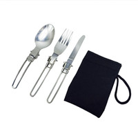 Wholesale foldable stainless steel spoon fork resale online - Stainless Steel Dinnerware Set Foldable Protable Outdoor Camping Tableware Knife Fork Spoon Set for Travel Picnic HHA823