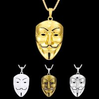 Wholesale vendetta silver mask resale online - 1 fashion jewelry silver jewelry pendant movie vendetta mask stainless steel high quality pendant car accessories
