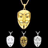 filme zubehör großhandel-1 Stück Modeschmuck Silberschmuck Anhänger Film Vendetta Maske Edelstahl hohe Qualität Anhänger Autozubehör
