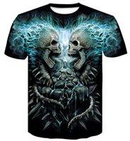 Cheap Design Sport Halloween All Saints Day round neck 3D digital skull print t shirt short sleeve Casual loose printed men s clothing wear