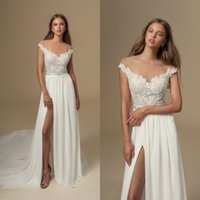 Wholesale off shoulder chiffon navy dress resale online - 2020 Julie Vino Boho Wedding Dress A Line Sweep Train Lace Applique Chiffon Beach Wedding Dresses Off Shoulder Split Bohemian Bridal Gowns