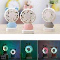 led hayranları toptan satış-Mini USB Fan Taşınabilir Şarj Edilebilir Masa Tavşan El Kişisel Handy Fan Için LED Işık Ventilatör USB Fan Hava Soğutucu ev