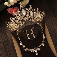 Hot Sale Luxury Bride Crown Headdress Golden Atmosphere Wedding Dress Necklace Earrings Three-piece Wedding Accessories Fine jewelry