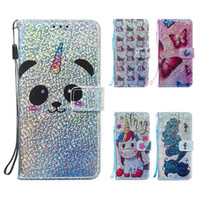 Wholesale leather smart phone wallet resale online - Glitter Wallet Case For Huawei P30 Pro Mate Lite PU Flip Cover Case for Huawei Honor A A Y6 Y7 Prime P Smart Cartoon Phone Case