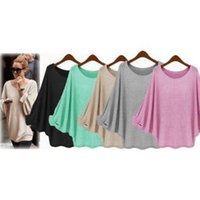 Wholesale casuals clothing women for sale - Group buy Women Casual Batwing Long Sleeve Knitted Sweater Loose Blouse Jumper Tops Shirt lady top home clothes FFA1558