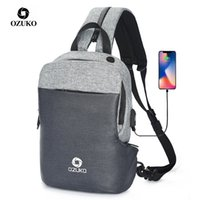 Wholesale soft water bags resale online - OZUKO Multifunction Chest Pack Men Fashion Shoulder Crossbody Bag Male Water Resistant Chest Bags USB Charging Travel Sling Bag