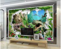 Wholesale dinosaur wallpaper mural resale online - WDBH d wallpaper custom photo Ancient dinosaur era brick wall living Room background home decor d wall murals wallpaper for walls d