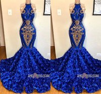 Wholesale pictures flowers white roses for sale - Group buy 2019 New Royal Blue Halter Mermaid Prom Dresses Gold Appliqued Sleeveless Rose Flower Train Formal Evening Dresses Pageant Party Wear bc1213