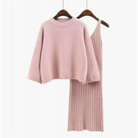 трикотажное платье из двух частей оптовых-2018 Autumn Womans Sweater + Straped Dress Sets Solid Color Female Casual Two-Pieces Suits Loose Sweater Knitted Dress Winter