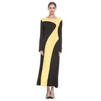 женщина вязаная одежда дизайн оптовых-Women Fashion Elegant Dresses Muslim Splice knitting LongSleeve Arab Dress Islam Jilbab Stylish Design Maxi Dress Clothes z0415