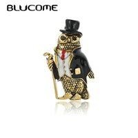 Wholesale brooches pin owl resale online - Blucome Vintage Nighthawk Owls Birds Animals Brooches For Women Pins Gentleman Dress Hat Decoration Suit Corsage Pin Collar Clip