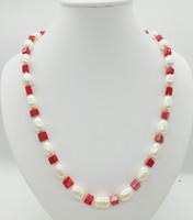 collar de coral de china al por mayor-Promoción! Collar de perlas blancas naturales y coral rojo de 11-12 mm del sur de China, 22