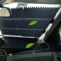 aislamiento para coches al por mayor-Cortina de aislamiento del parabrisas del coche Cortina Parasol delantero Verano coche Protector solar aislamiento Parasol retráctil automática