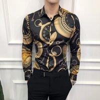 koreanisches freizeitkleid für männer großhandel-Freizeithemd Männer Langarm Goldhemd Neue 2018 Korean Kleid Slim Fit Smoking Shirts Männliche Mode Nachtclub Arbeitshemd Q190427