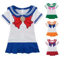 cosplay kostüme seemann mond großhandel-Baby Mädchen Sailor Moon Cosplay Body Japanischen Anime Ziemlich Soldat Kostüm Prinzessin Tsukino Usagi Mit Warmen Bein Stiefel Socken MX190720