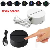 5v panel led ışık toptan satış-3D LED Lamba Tabanı 7 Renk Dokunmatik Anahtarı led ışıkları 4mm Akrilik Panel 3d optik illusion Lamba Pil veya DC 5 V USB