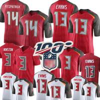 jersey rojo 13 al por mayor-13 Mike Evans Buccaneers de Tampa Bay Jersey 14 Ryan Fitzpatrick 3 Jameis Winston Jersey Jerseys de fútbol para hombre rojo blanco