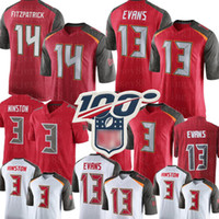 camisa vermelha 13 venda por atacado-13 Mike Evans Tampa Bay Buccaneers Jersey 14 Ryan Fitzpatrick 3 Jameis Winston Jersey Mens camisas de futebol branco vermelho