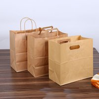 logoları kes toptan satış-28x28 + 15 cm kraft kağıt ekmek çanta ambalaj tote kolu kahverengi die cut baget delme pişirme taşınabilir kağıt çanta özel LOGO