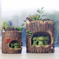 resinas epoxi verdes venda por atacado-Modern Resina De Madeira Bonsai Suculentas Pote Retro Permeável Cerâmica Planta Verde Vasos de Flores Sala de estar Escritório Jardim Home Decor Q190615
