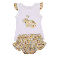bunny mavi toptan satış-Bebek Kız Baskı Takım Fırfır Kollu Paskalya Bunny Yama Işlemeli Iki Parçalı Yumuşak Bebek Bebek Giysi Tasarımcısı 48